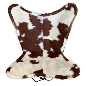 | RICK | - BROWN + WHITE CURLY COWHIDE BUTTERFLY CHAIR