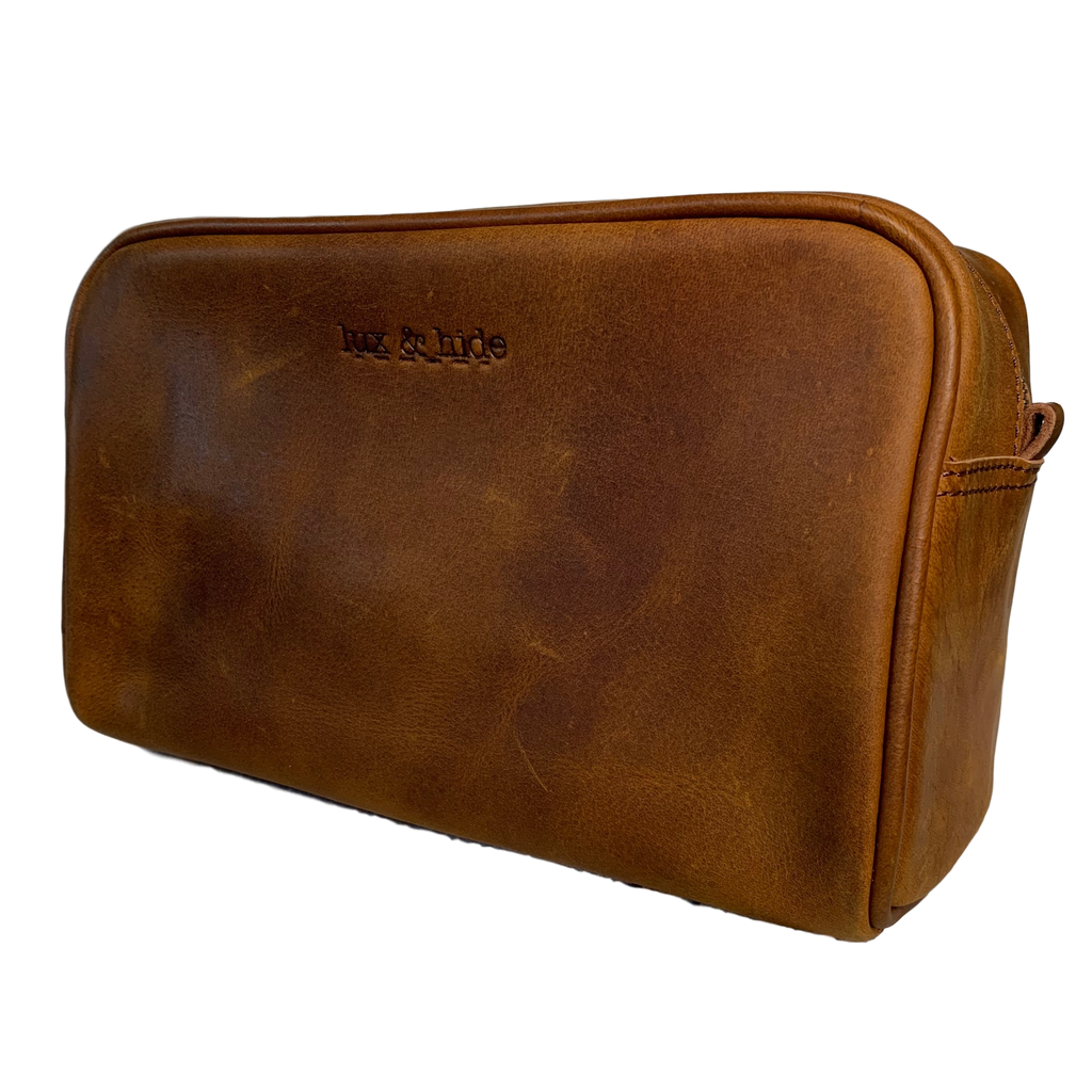 LEATHER TOILETRIES BAG - REDISH BROWN