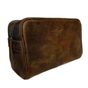 LEATHER TOILETRIES BAG - VINTAGE BROWN