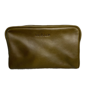 LEATHER TOILETRIES BAG - OLIVE GREEN