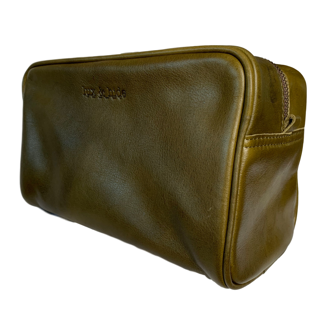LEATHER TOILETRIES BAG - OLIVE GREEN - Lux & Hide