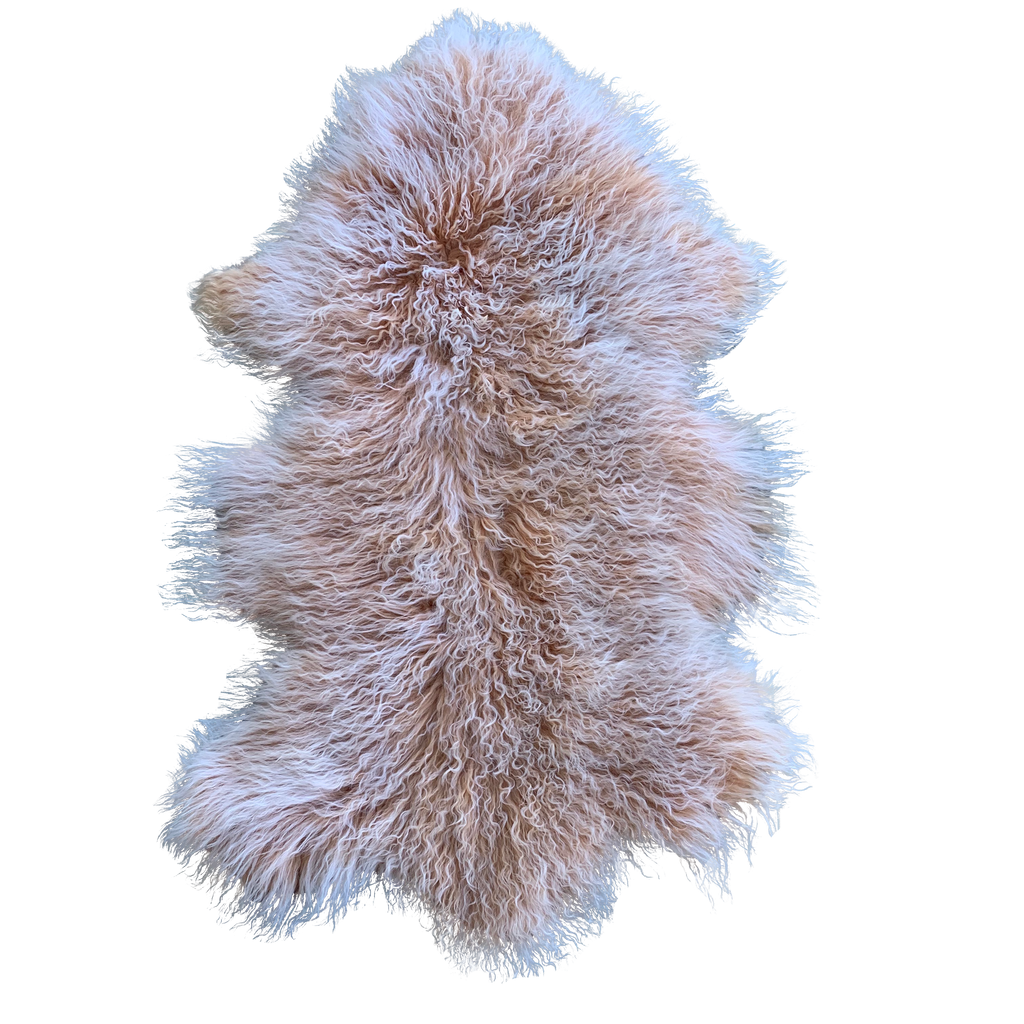 MONGOLIAN SHEEPSKIN |  CORAL W/ WHITE TIPS - Lux & Hide