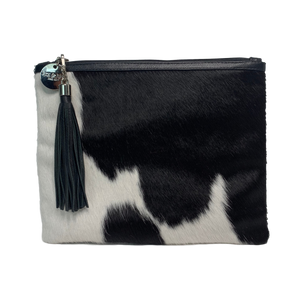 COWHIDE XL STATEMENT CLUTCH - BLACK + WHITE. - Lux & Hide