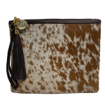 COWHIDE STATEMENT CLUTCH - BROWN + WHITE SPECKLE.