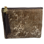COWHIDE STATEMENT CLUTCH - TAN BROWN + WHITE SPECKLE.