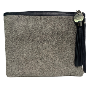 COWHIDE STATEMENT CLUTCH - GREY.`