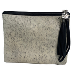 COWHIDE STATEMENT CLUTCH - WHITE + LIGHT SPECKLE.`