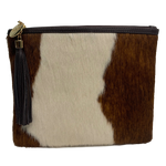 COWHIDE STATEMENT CLUTCH - BROWN + WHITE.