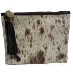 COWHIDE STATEMENT CLUTCH - LIGHT BROWN + WHITE SPECKLE.