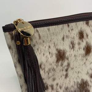 COWHIDE XL STATEMENT CLUTCH - LIGHT BROWN + WHITE SPECKLE. - Lux & Hide