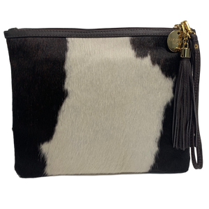 COWHIDE STATEMENT CLUTCH - TRICOLOUR.`