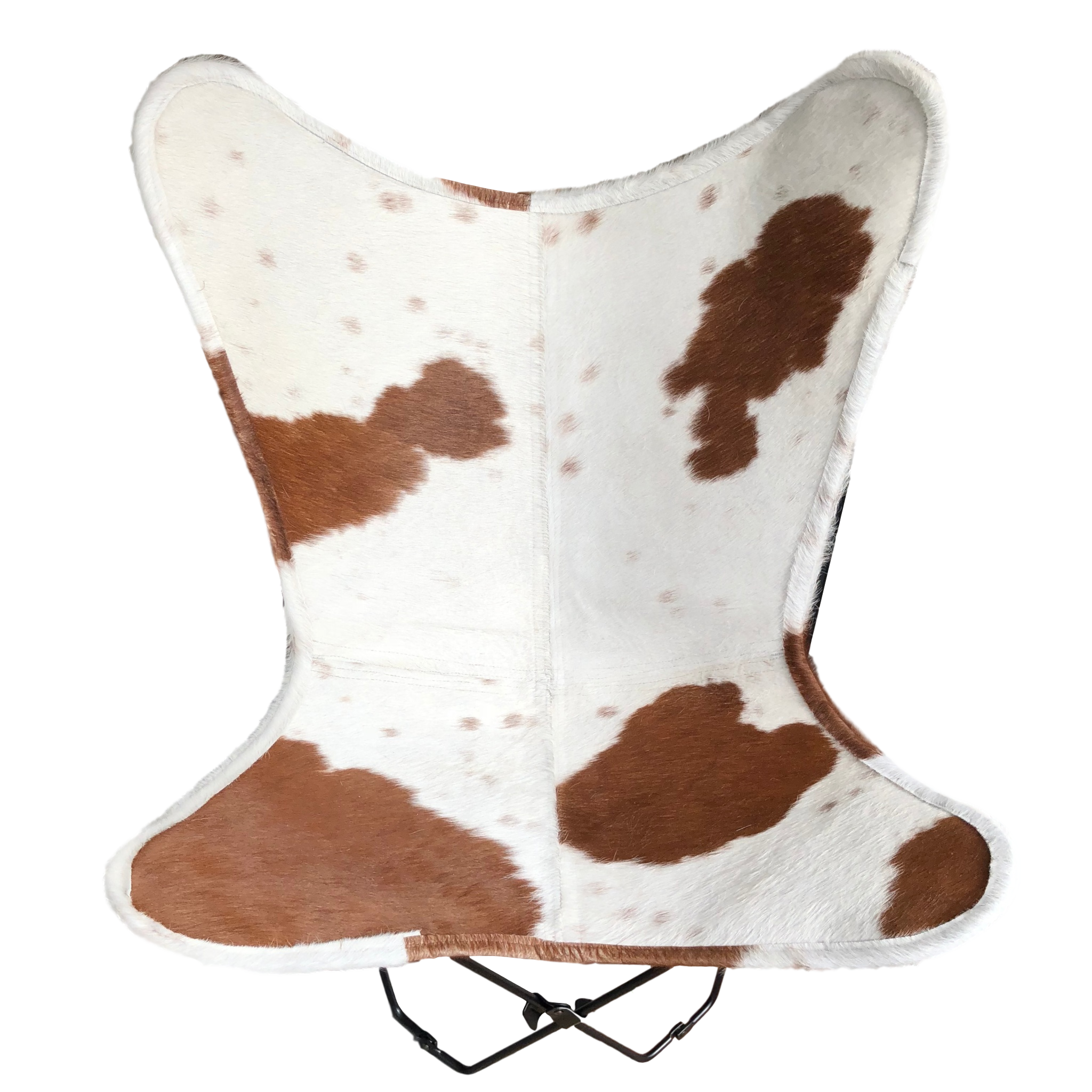 BROWN + WHITE COWHIDE BUTTERFLY CHAIR - Lux & Hide