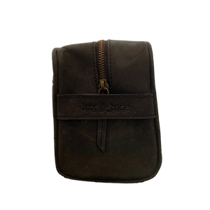 LEATHER TOILETRIES BAG - VINTAGE BLACK - Lux & Hide