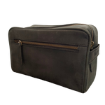 LEATHER TOILETRIES BAG - VINTAGE BLACK