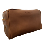 LEATHER TOILETRIES BAG - CHOC CARAMEL