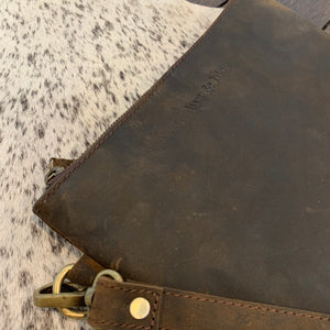 LEATHER CLUTCH -  VINTAGE BROWN - Lux & Hide
