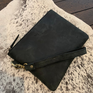 LEATHER CLUTCH - VINTAGE BLACK