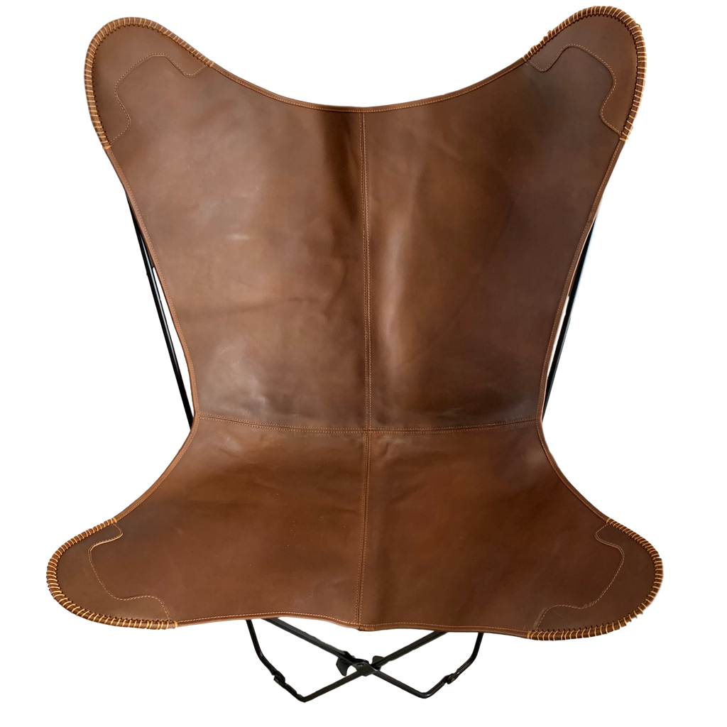 CHOC CARAMEL LEATHER BUTTERFLY CHAIR - Lux & Hide