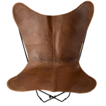CHOC CARAMEL LEATHER BUTTERFLY CHAIR