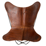 VINTAGE REDISH BROWN LEATHER BUTTERFLY CHAIR