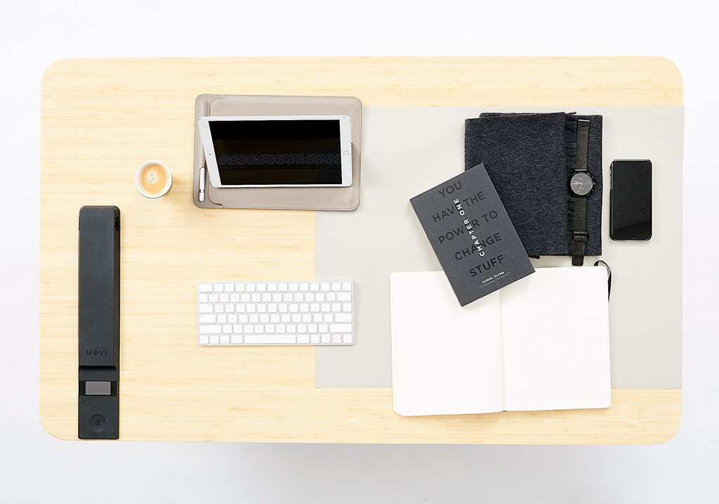 Black | desk with ipad and notebooks