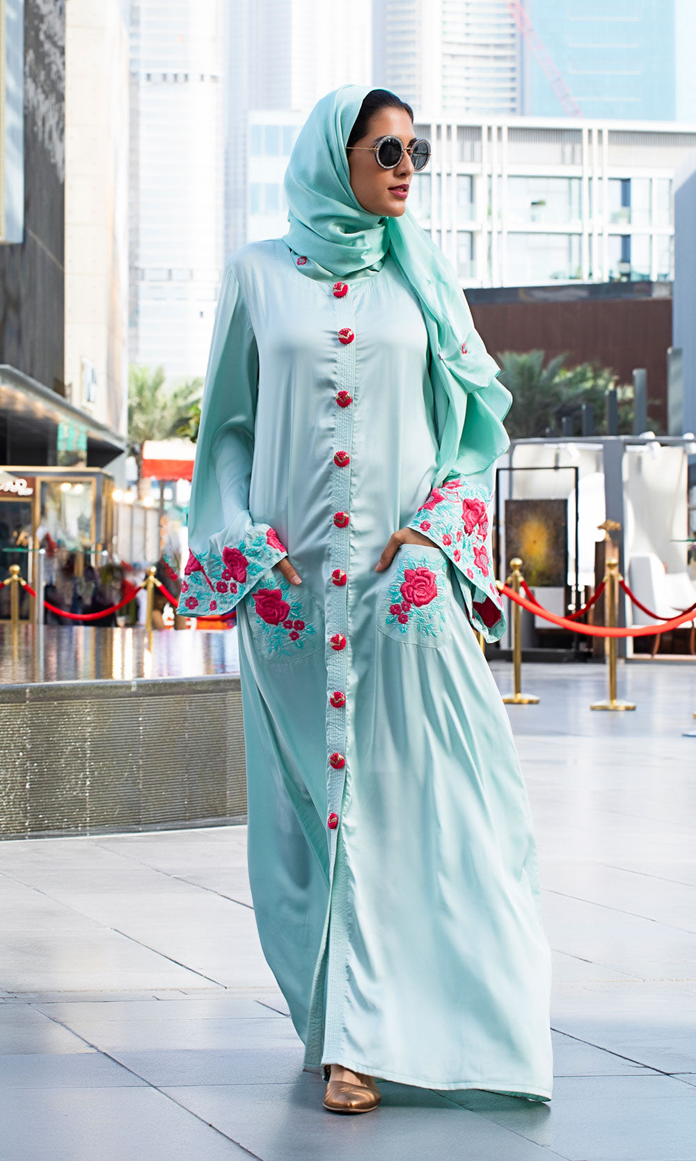 Floral Bliss Mint Abaya