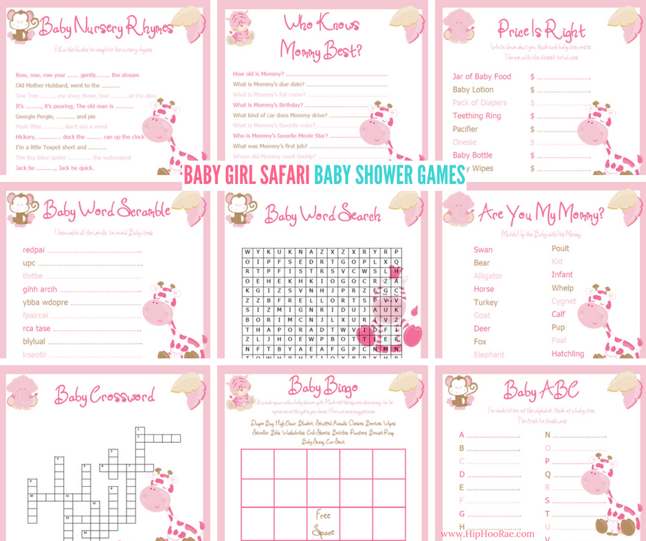 Baby Girl Safari Printable Baby Shower Games