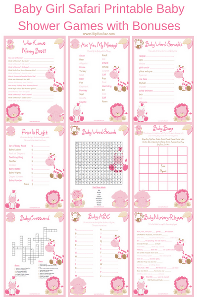 Baby Girl Safari Printable Baby Shower Games and Bonuses, Baby Girl Jungle Theme Baby Shower printable games