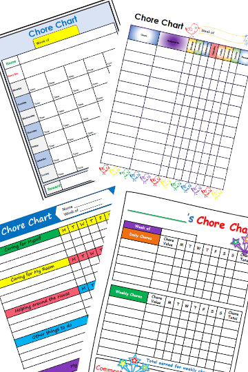 Chore Charts for kids that they can color in