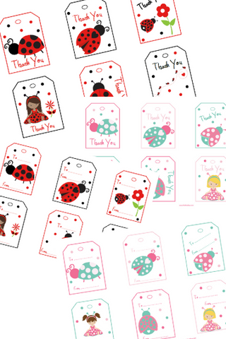 Lady Bug Gift Tags and Thank You Tags
