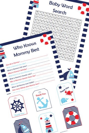 Nautical Baby Shower Games and Banners