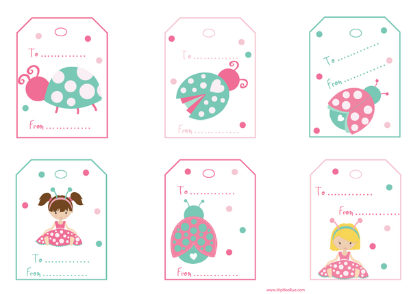 Lady Bug Gift Tags Pastel Colors