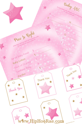 Pink and Gold Baby Shower Printable Games