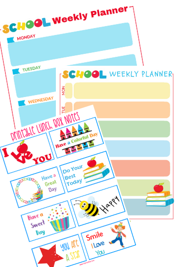 Back To School Planners and Printable Lunch Box Notes
