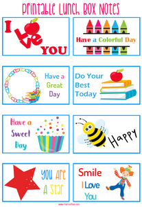 Printable Lunch Box notes lovely way to show your kids you are thinking of them during the school day.