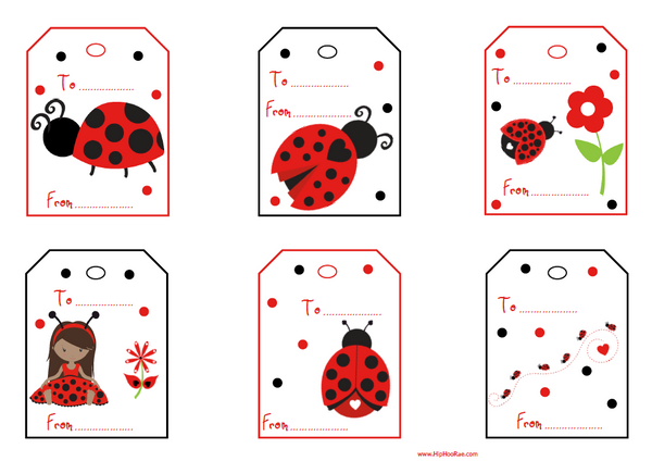 Lady Bug Gift Tags in Black and Red
