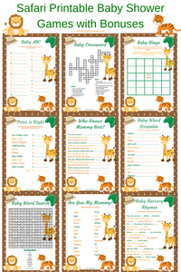 Safari Printable Baby Shower Games and Bonuses