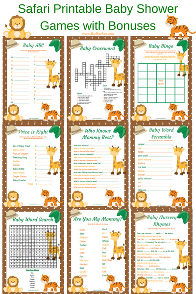 graphic relating to Free Printable Baby Shower Games Who Knows Mommy the Best named Safari Jungle Printable Child Shower Game titles with Bonuses