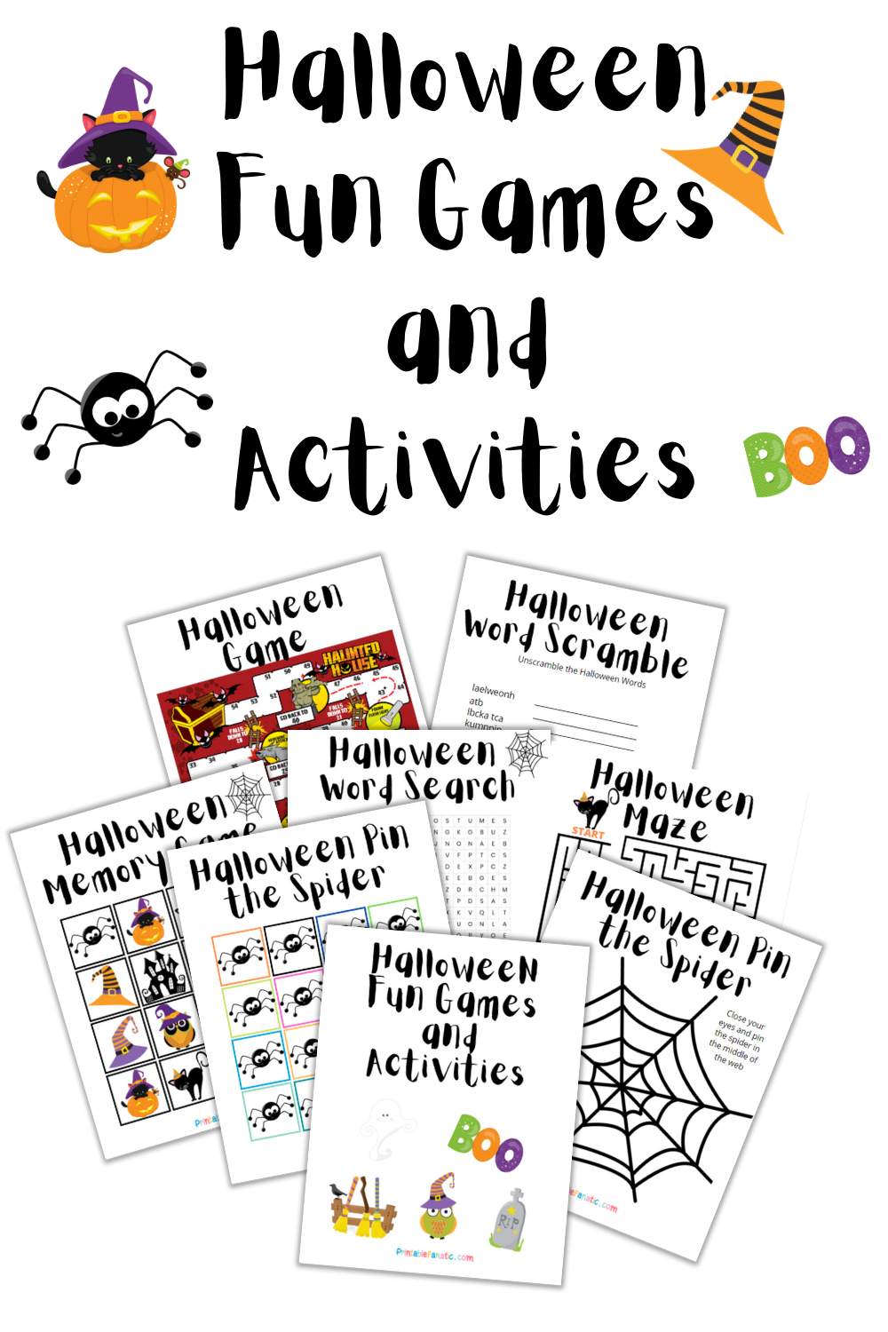Pin Image of all the Halloween Fun game printables