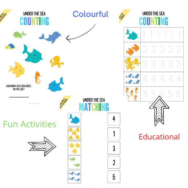 Under the sea educational printables