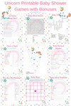 Unicorn Printable Baby Shower Games with Bonuses. Print them out and have fun at your baby shower
