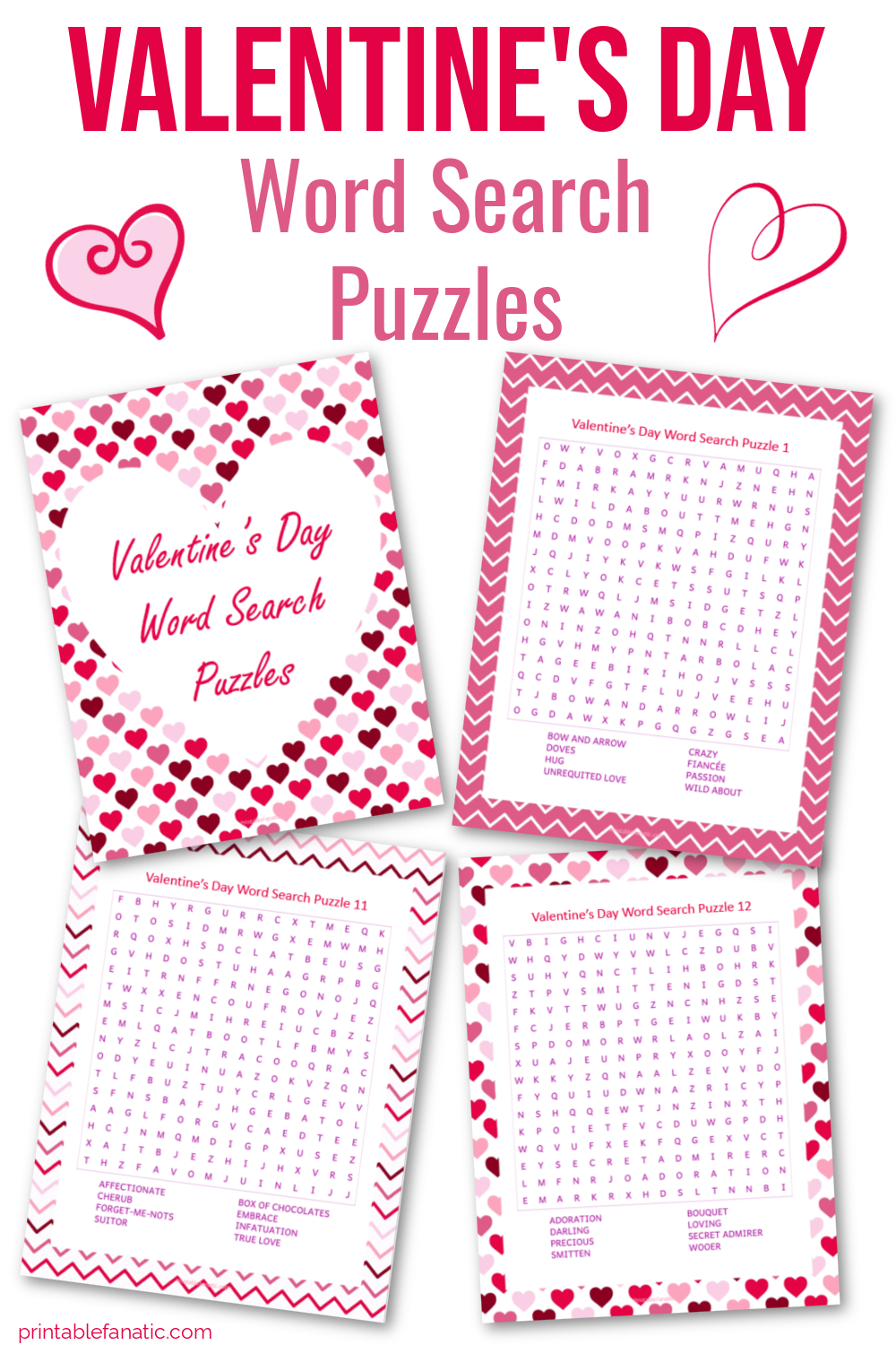 Collage of Valentines Day word Searches