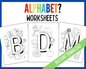 Alphabet work sheets - Black and White