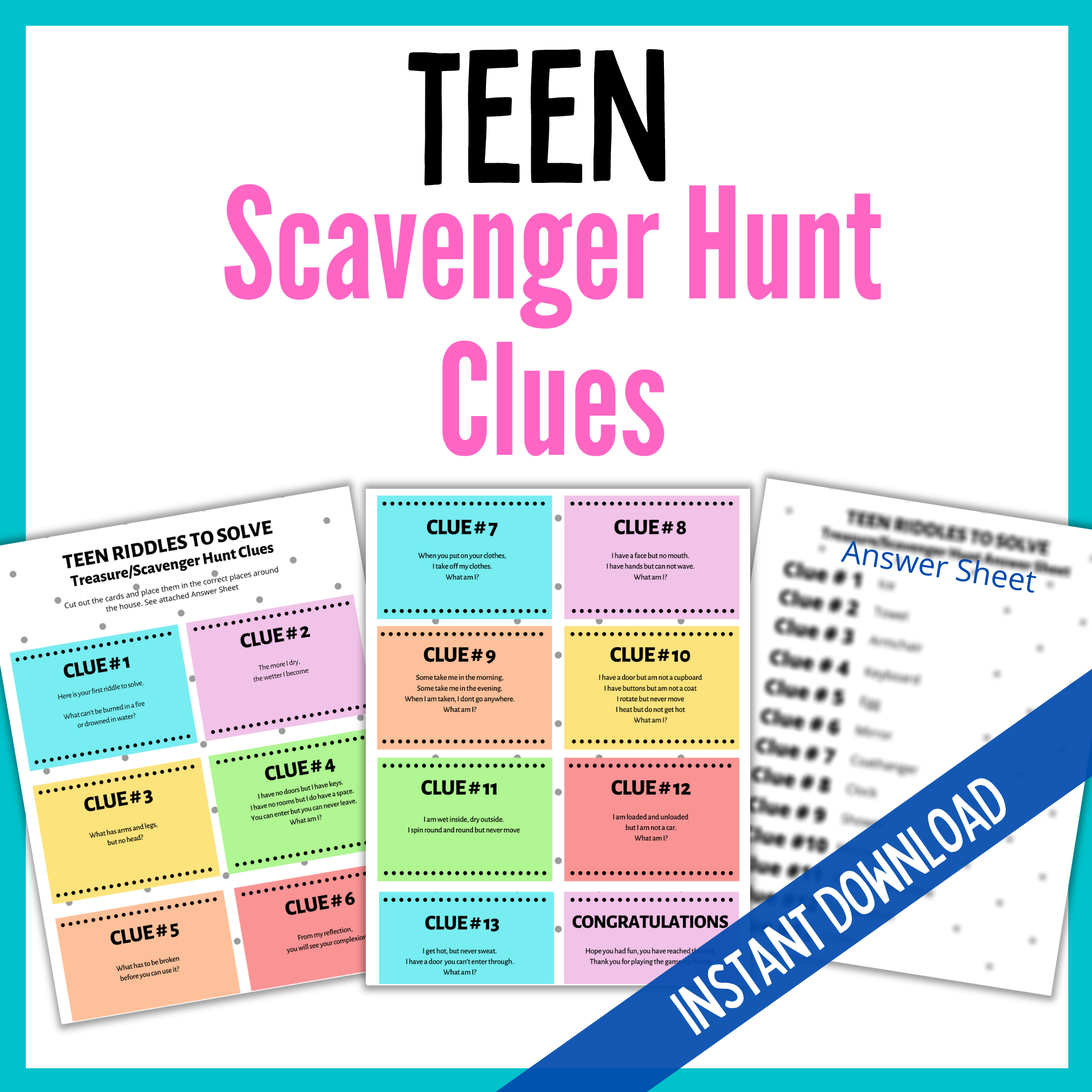Teen Treasure Hunt Clues