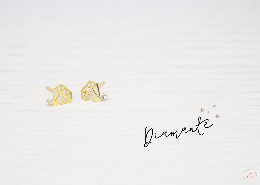 Aretes  Mini Diamante Circoncito Al Costado LaBoutique Joyas