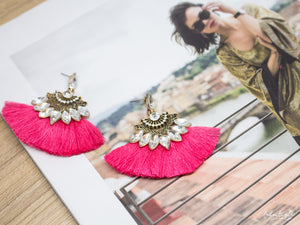 Maxi Aretes Borla Fucsia Diamante LaBoutique Joyas