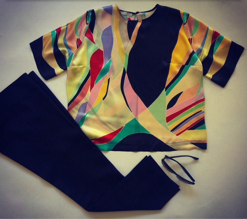 Hand-painted silk T-shirt