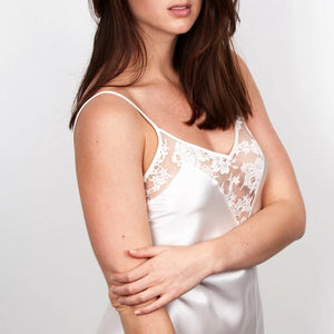 Model In Ivory Silk Slip with French Lace