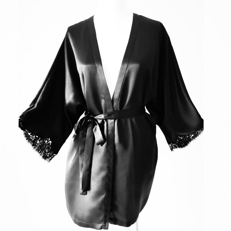 Mini Magyar Sleeve Silk Robe w/ French Lace Sleeve Hem (available in ivory & black)