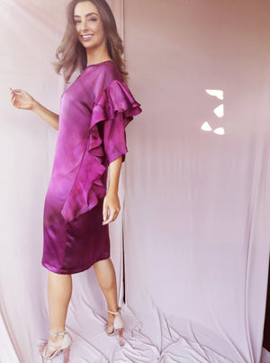 Long hand-painted silk ruffle dress